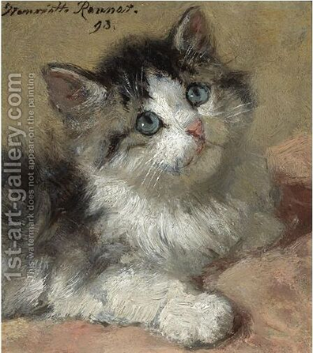 An Inquisitive Kitten by Henriette Ronner-Knip - Reproduction Oil Painting