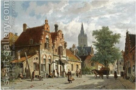 Figures In The Sunlit Streets Of A Dutch Town by Adrianus Eversen - Reproduction Oil Painting