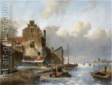 Figures On The Ice Unloading A Sledge by Charles Henri Leickert - Reproduction Oil Painting