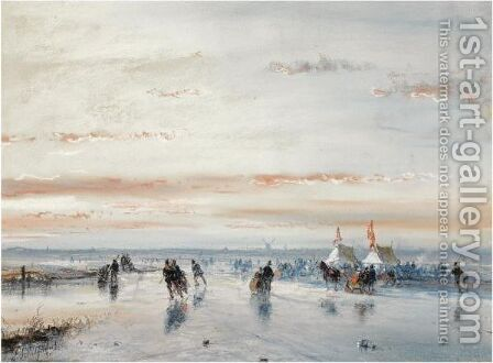 Winter Fun On The Ice Near A 'Koek En Zopie' by Andreas Schelfhout - Reproduction Oil Painting
