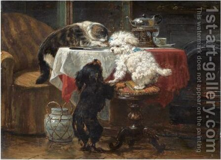 Dinner Time by Henriette Ronner-Knip - Reproduction Oil Painting