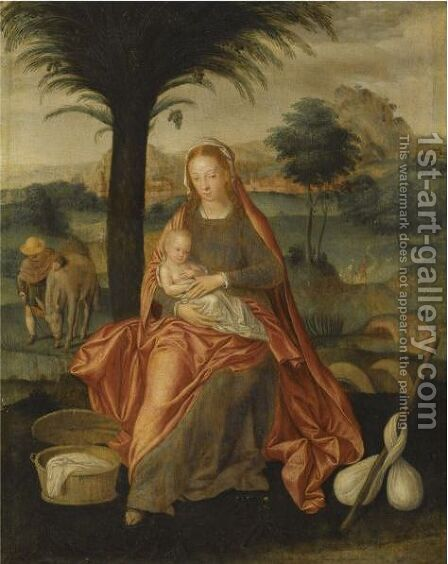 The Rest On The Flight Into Egypt by (after) Bruges - Reproduction Oil Painting