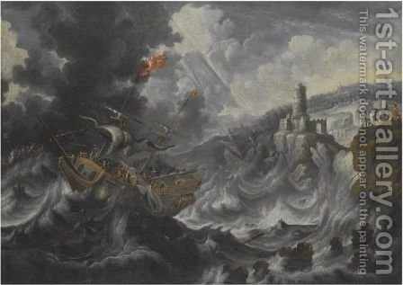 A Coastal Landscape With Shipping Caught In Tempestuous Seas by Cornelis Mahu - Reproduction Oil Painting