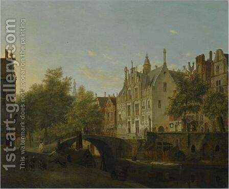Delft, A View Of The Oude Delft And The Gemeenlandshuis by Jan Van Der Heyden - Reproduction Oil Painting
