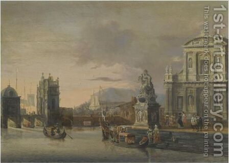 A Mediterranean Harbour Capriccio With Elegant Figures Boarding Gondolas by Jacobus Storck - Reproduction Oil Painting