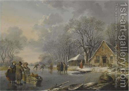 A Winter Landscape With Skaters On A Frozen River Near An Inn by Andries Vermeulen - Reproduction Oil Painting