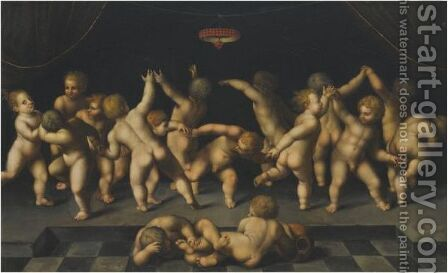 Dancing Putti by (after) Marcantonio Raimondi - Reproduction Oil Painting