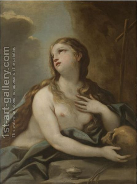 The Penitent Mary Magdalene by (after) Luca Giordano - Reproduction Oil Painting