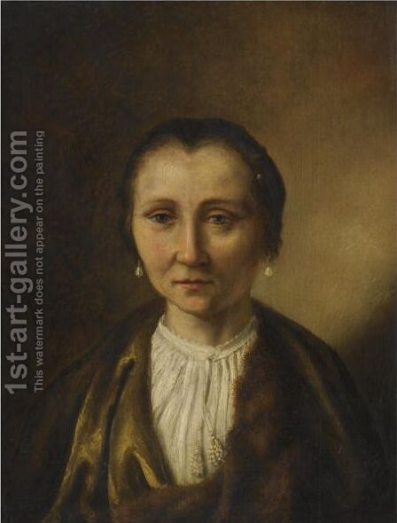 Portrait Of An Elderly Lady Head And Shoulders by (after) Harmenszoon Van Rijn Rembrandt - Reproduction Oil Painting