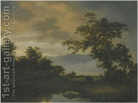 A Wooded River Landscape With A Shepherd And His Flock On The Bank by Cornelis Hendricksz. The Younger Vroom - Reproduction Oil Painting