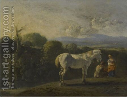 A Landscape With A White Horse And Travellers, A River Beyond, Possibly Tobias And The Angel by Bartholomeus Engels - Reproduction Oil Painting