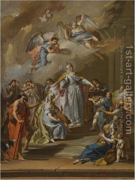 Saint Elizabeth Of Portugal Distributing Alms by (after) Francesco Pittoni - Reproduction Oil Painting