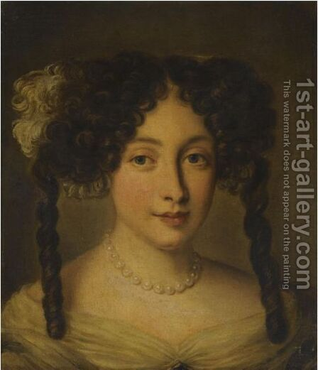 Portrait Of A Lady, Bust-Length, Wearing A Pearl Necklace by Jacob Ferdinand Voet - Reproduction Oil Painting