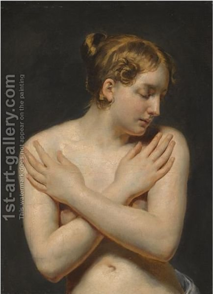 Study Of A Young Woman With Her Arms Folded by (after) Pierre-Narcisse Guerin - Reproduction Oil Painting
