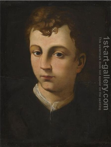 Portrait Of A Boy, Head And Shoulders, Wearing A Black Coat With A White Collar by (after) Agnolo Bronzino - Reproduction Oil Painting