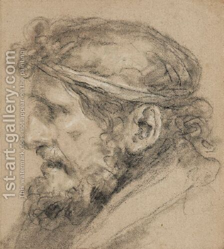 Head Of A Bearded Man In Profile by Ecole Francaise, Xixeme Siecle - Reproduction Oil Painting