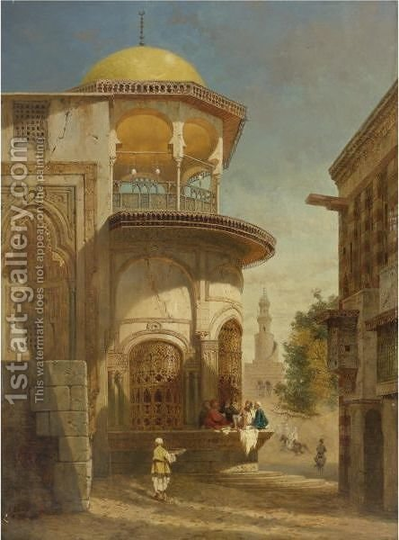 A Street Scene In Old Cairo Near The Ibn Tulun Mosque by Adrien Dauzats - Reproduction Oil Painting