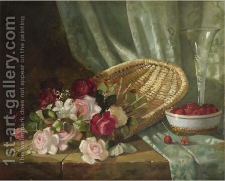 Still Life With Roses And Raspberries by Abbott Fuller Graves - Reproduction Oil Painting
