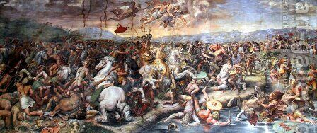 The Battle Of The Milvian Bridge by (after) Raphael (Raffaello Sanzio of Urbino) - Reproduction Oil Painting