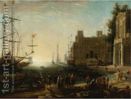 View Of A Bustling Port by (after) Claude Lorrain (Claude Gellee) - Reproduction Oil Painting