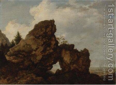 A Rocky Arch Near The Coast by Allaert van Everdingen - Reproduction Oil Painting