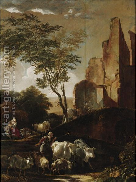 Peasants Driving Cattle by Adam Colonia - Reproduction Oil Painting