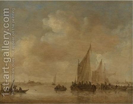 Fishing Boats In An Estuary by Jan van Goyen - Reproduction Oil Painting