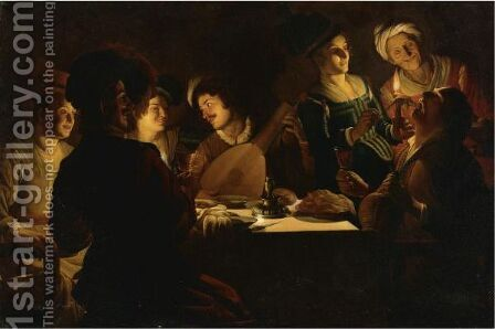 Elegant Figures Eating And Singing In An Interior by (after) Honthorst, Gerrit van - Reproduction Oil Painting
