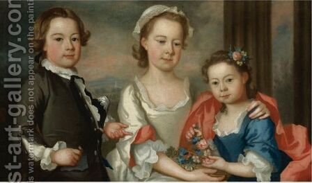 Portrait Of The Ballard Children by Bartholomew Dandridge - Reproduction Oil Painting