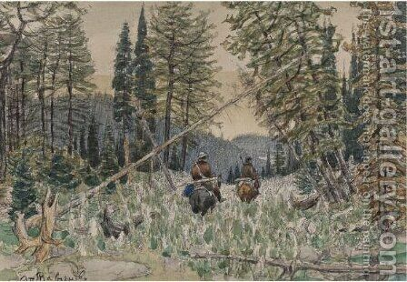 Hunters On Horseback In A Pine Forest by Apollinari Mikhailovich Vasnetsov - Reproduction Oil Painting