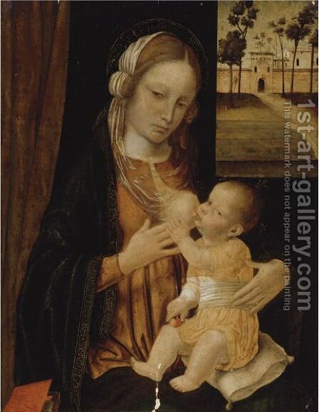 Madonna And Child by Ambrogio Bergognone - Reproduction Oil Painting