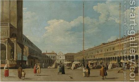 Venice, A View Of Piazza San Marco, Looking West From South Of The Central Line by (after) (Giovanni Antonio Canal) Canaletto - Reproduction Oil Painting