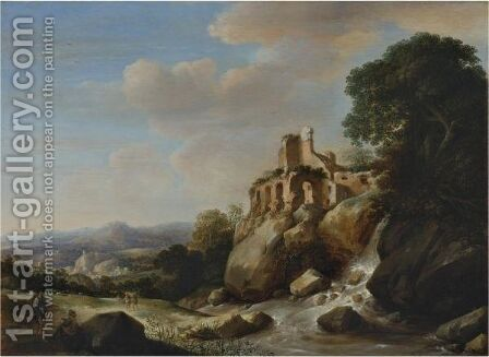 Travellers By A River With Ruins Above, An Extensive Landscape Beyond by Herman Saftleven - Reproduction Oil Painting