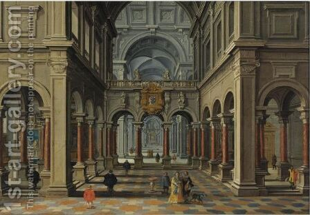 Interior Of A Church by Bartholomeus Van Bassen And Esaias Van De Velde - Reproduction Oil Painting