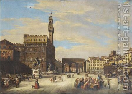 Florence, Piazza Della Signoria by Giuseppe Gherardi - Reproduction Oil Painting