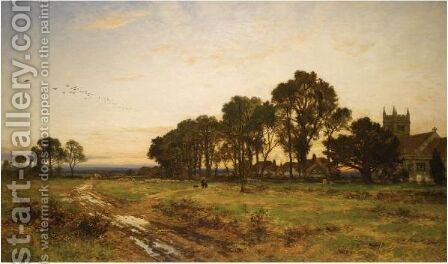 The Close Of Day, Worcestershire Meadows by Benjamin Williams Leader - Reproduction Oil Painting