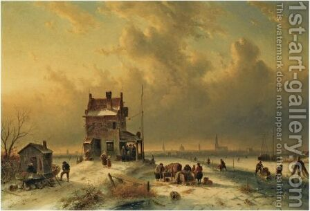 Busy Townsfolk On The Ice, Amsterdam In The Distance by Charles Henri Leickert - Reproduction Oil Painting