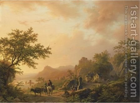 An Extensive Summer Landscape With Travellers On A Path by Barend Cornelis Koekkoek - Reproduction Oil Painting
