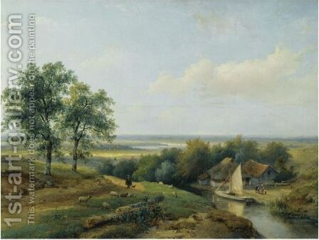 A Herd With His Flock In A Panoramic Summer Landscape by Andreas Schelfhout - Reproduction Oil Painting