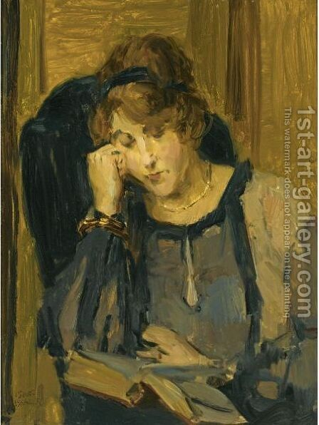 A Woman Reading by Isaac Israels - Reproduction Oil Painting