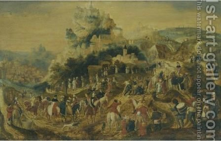 Landscape With The Road To Calvary by (after) Herri Met De Bles - Reproduction Oil Painting