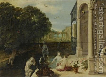 Nymphs Bathing In A Classical Garden Setting by Adriaan van Stalbemt - Reproduction Oil Painting