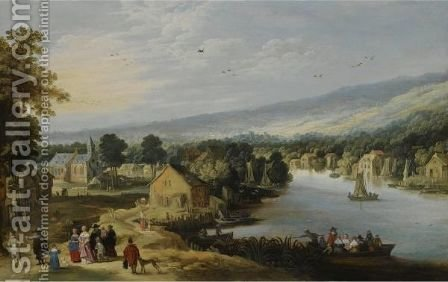 An Extensive Landscape With A Village Near A River, With An Elegant Family On A Path In The Foreground, A Ferryboat And Small Sailing Vessels In The Water, A Church Beyond by (after) Philippe De Momper - Reproduction Oil Painting