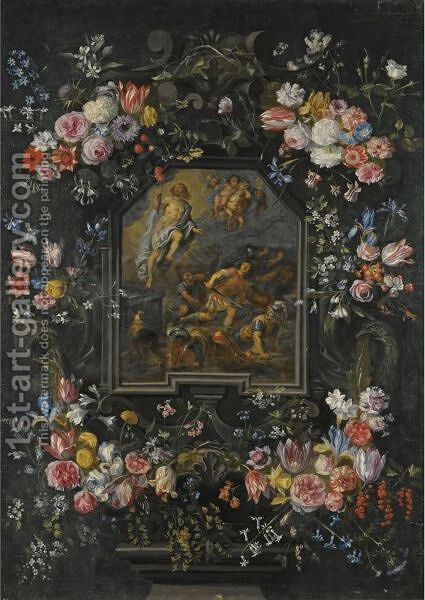 Garlands Of Flowers Surrounding A Stone Cartouche Inset With A Painting Depicting The Resurrection by Jan, the Younger Brueghel - Reproduction Oil Painting