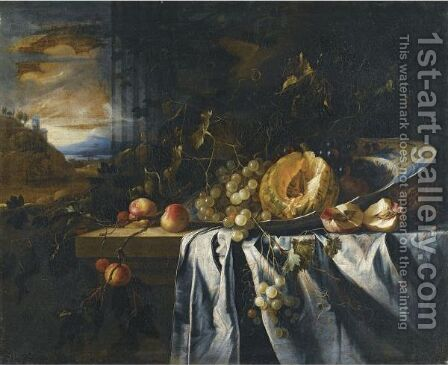 Still Life With A Melon In A Porcelain Bowl Together With Grapes And Peaches On A Wooden Ledge, A Landscape Beyond by Gregorius De Coninck - Reproduction Oil Painting