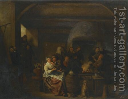 The Interior Of A Tavern With Peasants Cavorting And Drinking by Jan Miense Molenaer - Reproduction Oil Painting