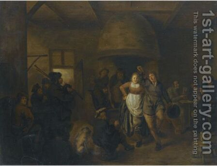 A Tavern Interior With A Bagpiper And A Couple Dancing by Jan Miense Molenaer - Reproduction Oil Painting