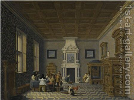 A Palace Interior With Cavaliers Cavorting With Nuns by Dirck Van Delen - Reproduction Oil Painting