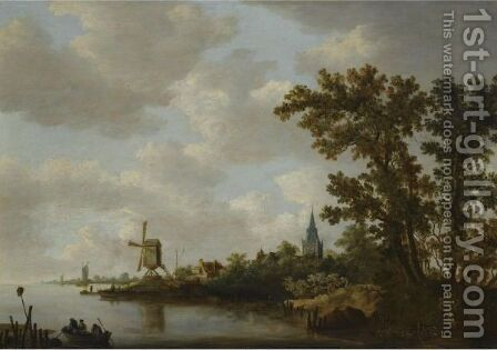 A River Landscape With Figures In A Boat In The Foreground And A Windmill And Church Beyond by Haarlem School - Reproduction Oil Painting