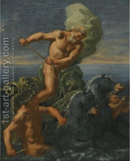 Neptune Riding His Chariot Of Horses by Domenico Antonio Vaccaro - Reproduction Oil Painting